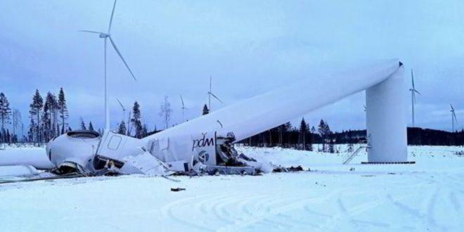 Hatalmas szélturbina omlott össze Svédországban